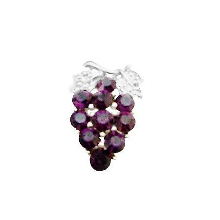 Prom Jewelry Amethyst Crystals Dress Jewel Brooch Pin