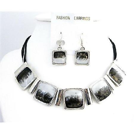 Classic White & Black Enamel Shaded Square Pendants Choker Set Jewelry