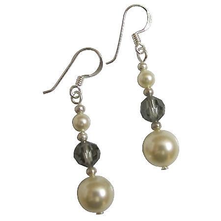 Sterling Silver Ivory Pearls Black Diamond Crystals Earrings