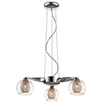 Spring Lighting - Liverpool Chrome And Copper Three Light Pendant  DBOP049DQ3EFDP