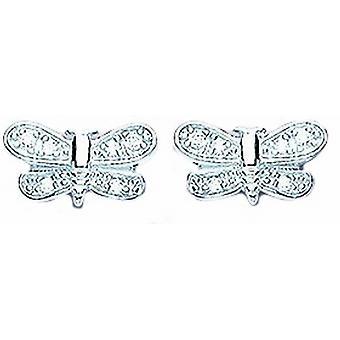 Bella Cubic Zirconia Butterfly Stud Earrings - Silver