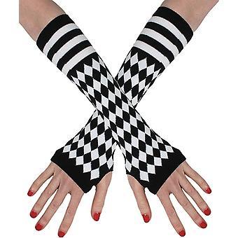 Fingerless Gloves Black White