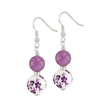 Éternelle Collection Meadow violet Floral fermoir Drop boucles d'oreilles