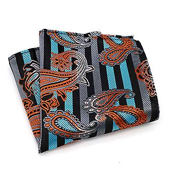 Orange grey & turquoise paisley pattern pocket square