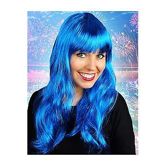 Lange Perücke Perücken mit Fransen blau