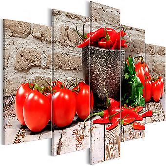 Canvas Print - Red Vegetables (5 Parts) Brick Wide