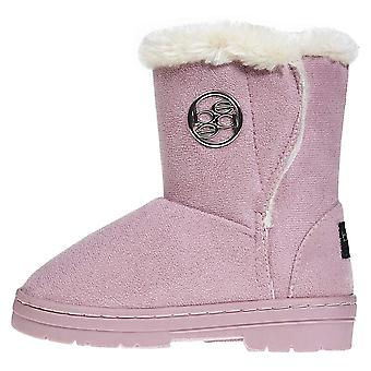 Toddler Girls Winter Boots with Fur Trims Slip-On Mid-Calf Fashion Shoes