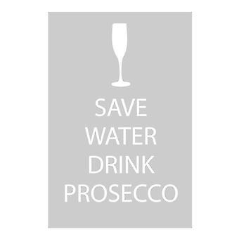 Save Water Drink Prosecco Grey Tea Towel