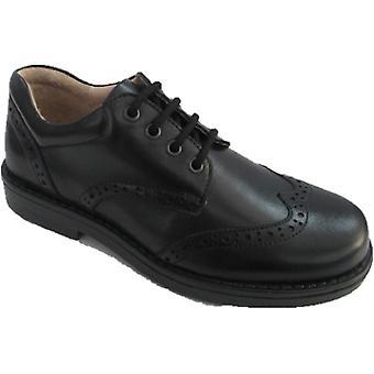 Petasil Boys Moses School Shoes Black E Fitting
