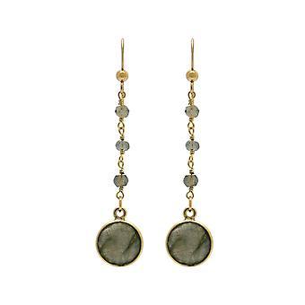 Gemshine earrings grey shimmering labradorite drop 925 silver or gold plated