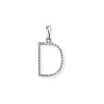 Jewelco London 18ct White Gold Pave Diamond Initial Charm Pendant Letter D 10mm x 19mm
