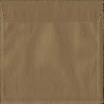 Metallic Gold Peel/Seal 220mm Square Coloured Gold Envelopes. 130gsm Luxury FSC Certified Paper. 220mm x 220mm. Wallet Style Envelope.