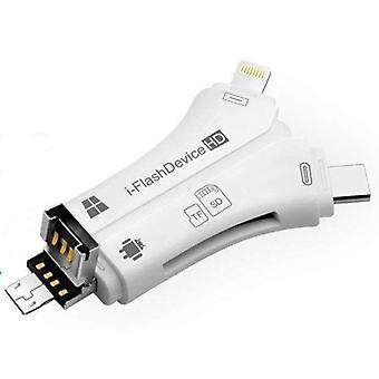 4 in 1 iPhone/micro USB/USB type-c/USB SD-kaartlezer voor iPhone iPad Mac & Android, SD & micro SD, PC-wit