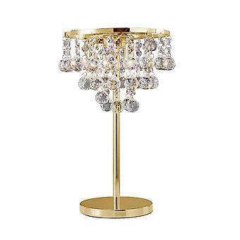 Diyas Atla Table Lamp 3 Light French Gold/Crystal