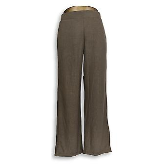 Lisa Rinna Collection Women's Pants Wide-Leg Brushed Hacci Brown A349566
