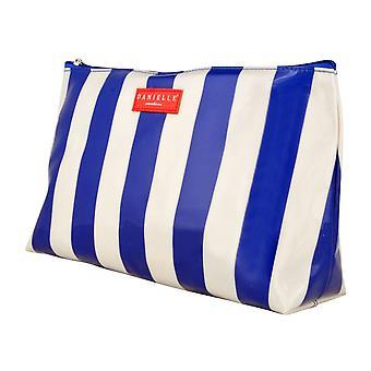 Danielle Blue and White Stripe PVC Cosmetics Purse