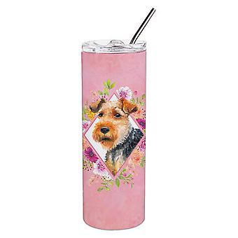Welsh Terrier fiori rosa doppio murato in acciaio inossidabile 20 oz Skinny Tumbler