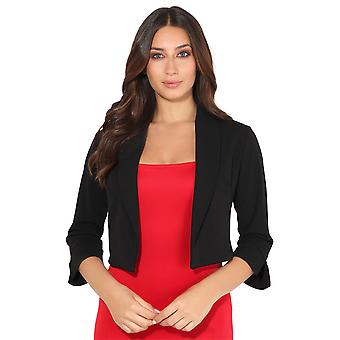 KRISP® Womens 3/4 Sleeve Evening Shrug Crop Bolero Top Open Jacket Blazer Party Work