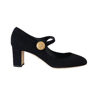 Dolce & Gabbana Blue Suede Gold Coin Mary Jane Pumps -- LA56864560
