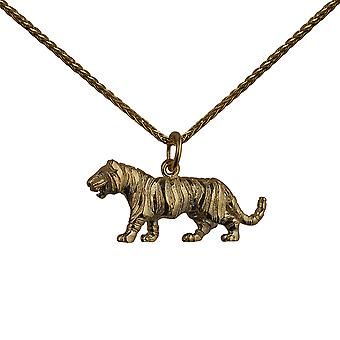 9ct Gold 12x27mm Tiger Pendant with a spiga Chain 24 inches