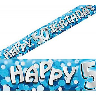 Blue - Happy 50th Birthday Holographic Banner Decorations 9ft