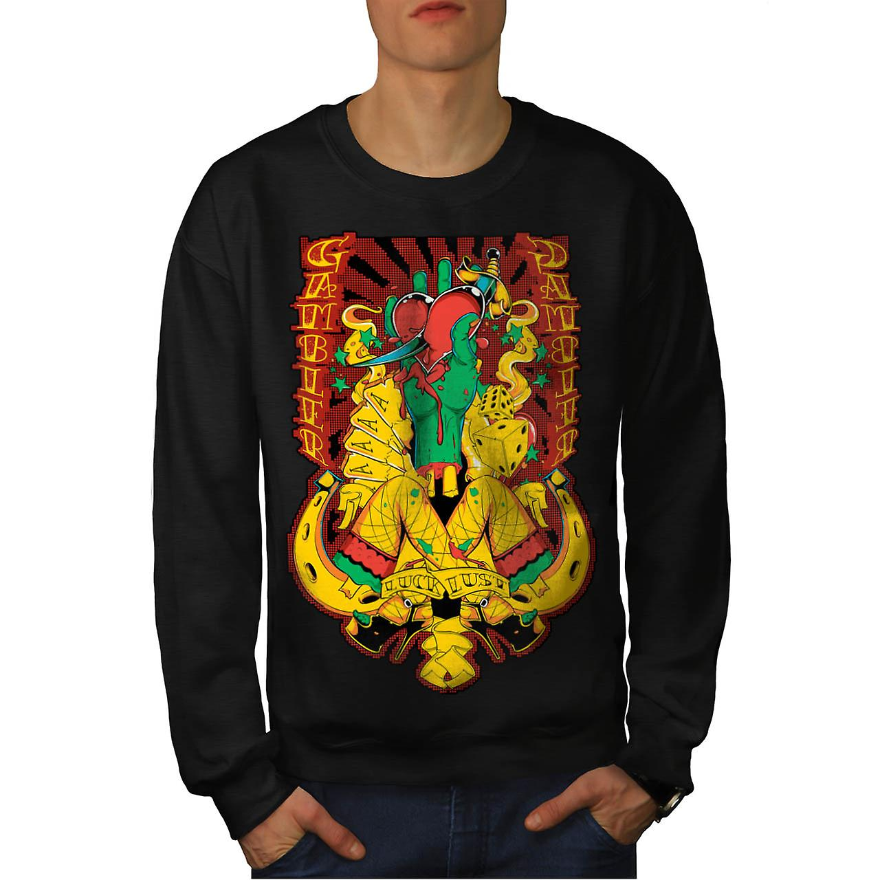 Gamble Heart Sexy Casino Men Black Sweatshirt | Wellcoda