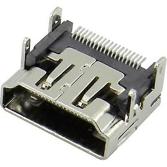 HDMI connector Socket, horizontal mount Silver Attend 206A-SEAN-R03 1 pc(s)