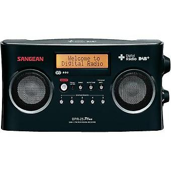 DAB+ Portable radio Sangean DPR-25+ AUX, DAB+, FM Battery charger Black
