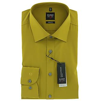 Mount Olympus level five body fit shirt 38 S long sleeve Poplin stretch mustard-yellow