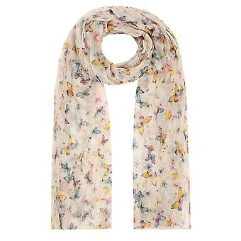 Yellow & Multi Butterfly Print Crinkled Scarf