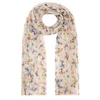 Gelbe & Multi-Schmetterling Print faltig Schal
