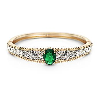 14K Gold Plated Green Cubic Zirconia Bracelet, 16.5cm