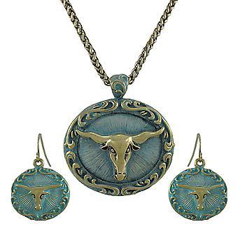 Bronze und Türkis Blau westlichen Longhorn Halskette und Ohrringe Set