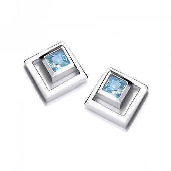 Cavendish French Silver and Aqua CZ Square in Square Earrings