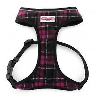 Comfort Mesh Dog Harness Tartan Purple Medium 44-57cm
