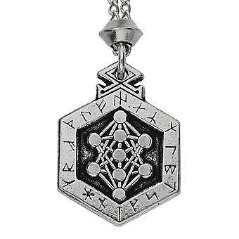 Handmade Norse Viking Odin Yggdrasil Runes Pewter Pendant ~ 36 inch Black Cord