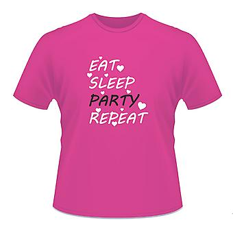 Ladies Hot Pink Hen Night Party Bachelorette 'Eat Sleep Party Repeat' T-Shirt