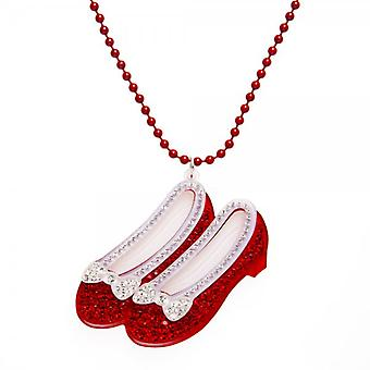 Camille Ruby Red Diamante Slipper Necklace