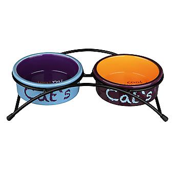 Trixie Eat On Feet Ceramic Cat Bowl Set With Rubber Feet