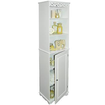 Scroll - Floor Standing Tall Bathroom Storage Cupboard With Shelves - White