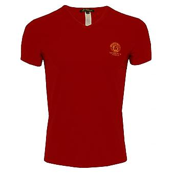 Versace Iconic V-Neck Stretch Cotton T-Shirt, Regal Red