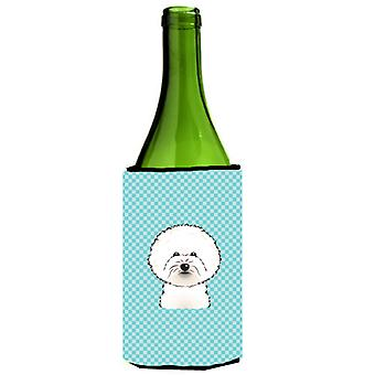 Checkerboard Blue Bichon Frise Wine Bottle Beverage Insulator Hugger
