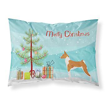 Taie d'oreiller Standard de Basenji Merry Christmas Tree tissu