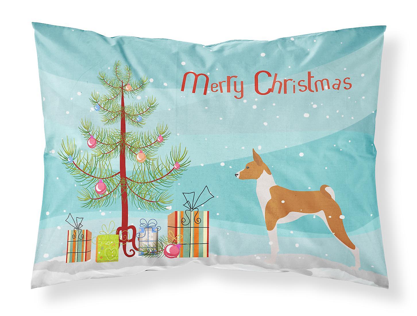 Taie Tissu Tree D'oreiller Standard De Basenji Merry Christmas FTKc1Jl