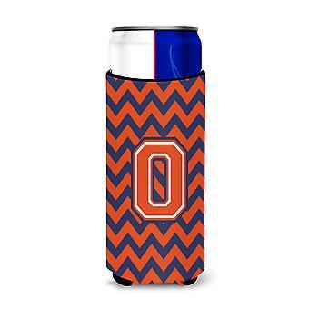 Letter O Chevron Orange Blue Ultra Beverage Insulators for slim cans