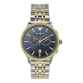 Armani Watches Ar1847 Blue & Two Tone Stainless Steel Chronograph Mens Watch