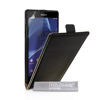 Caseflex Sony Xperia T2 Ultra Real Leather Flip Case - Black