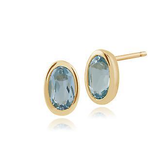 Gemondo 9ct oro giallo 0,56 ct Blue Topaz incorniciato orecchini