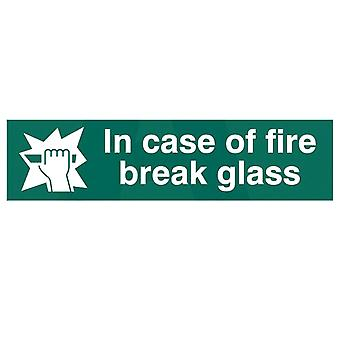 ASEC `In Case Of Fire Break Glass` 200mm X 50mm PVC Self Adhesive Sign.
