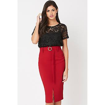 Vicky Belted Red Skirt